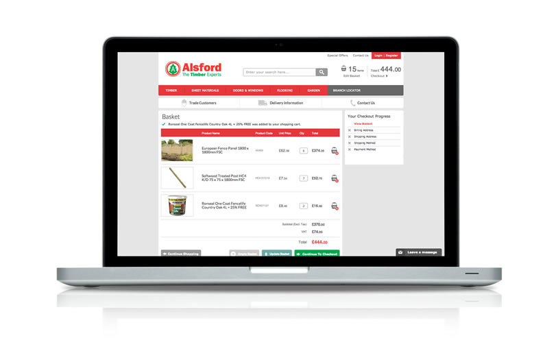 alsford-timber_ecommerce-website-laptop-checkout